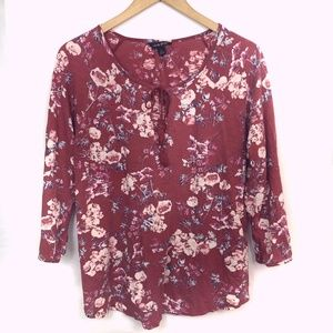 LUCKY BRAND Red Blue Floral 3/4 Sleeve Peasant Top